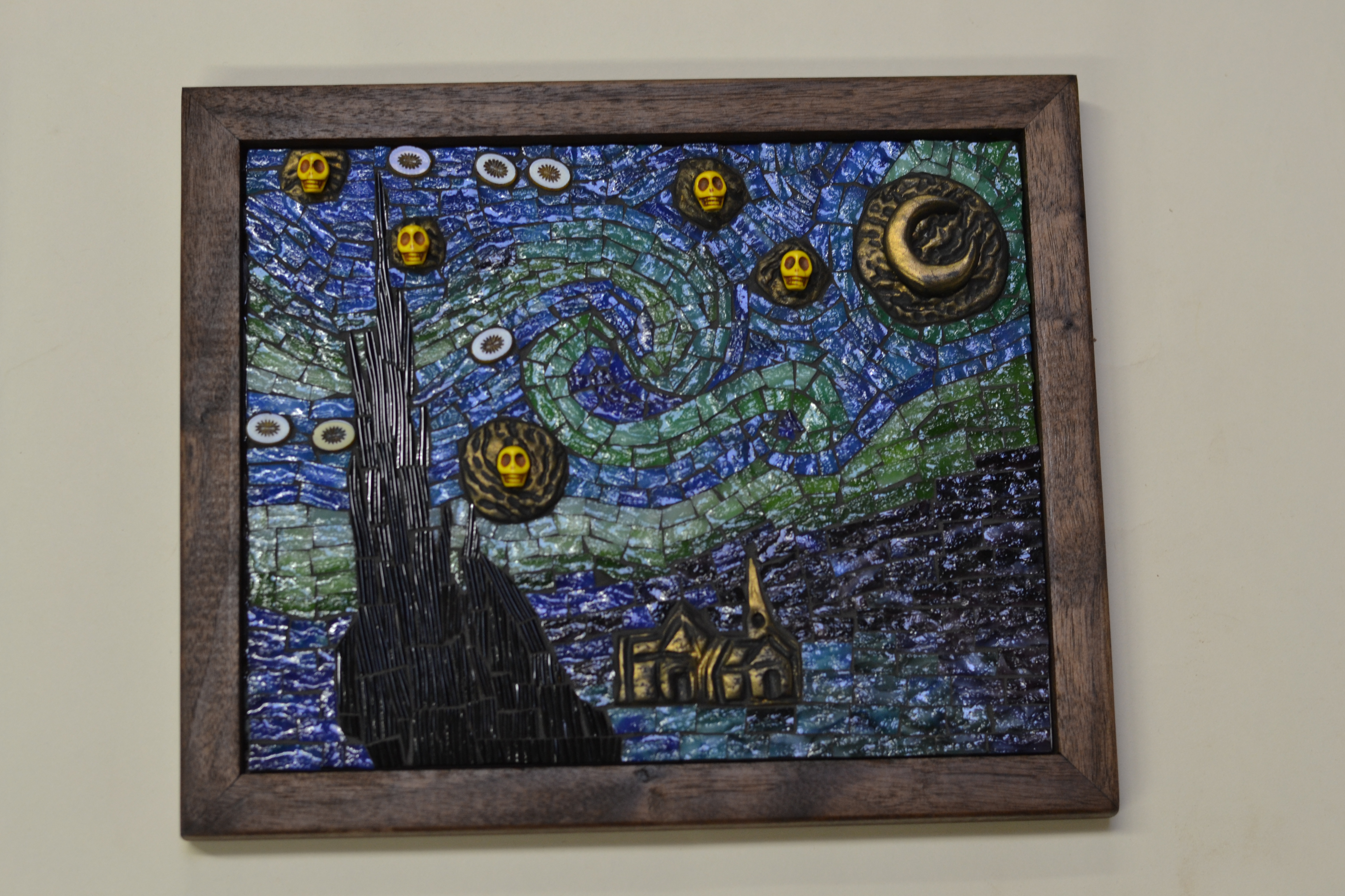 starry night mosaic by lynn framed in walnut - Mosaic Picture Frames